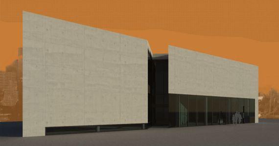 Digital rendering of building