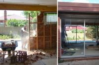 Two images showing demolition of walls and fitting new windows