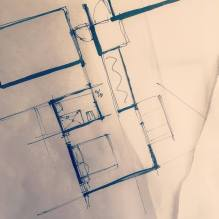 Hand draw flor plan for a master bedroom and ensuite