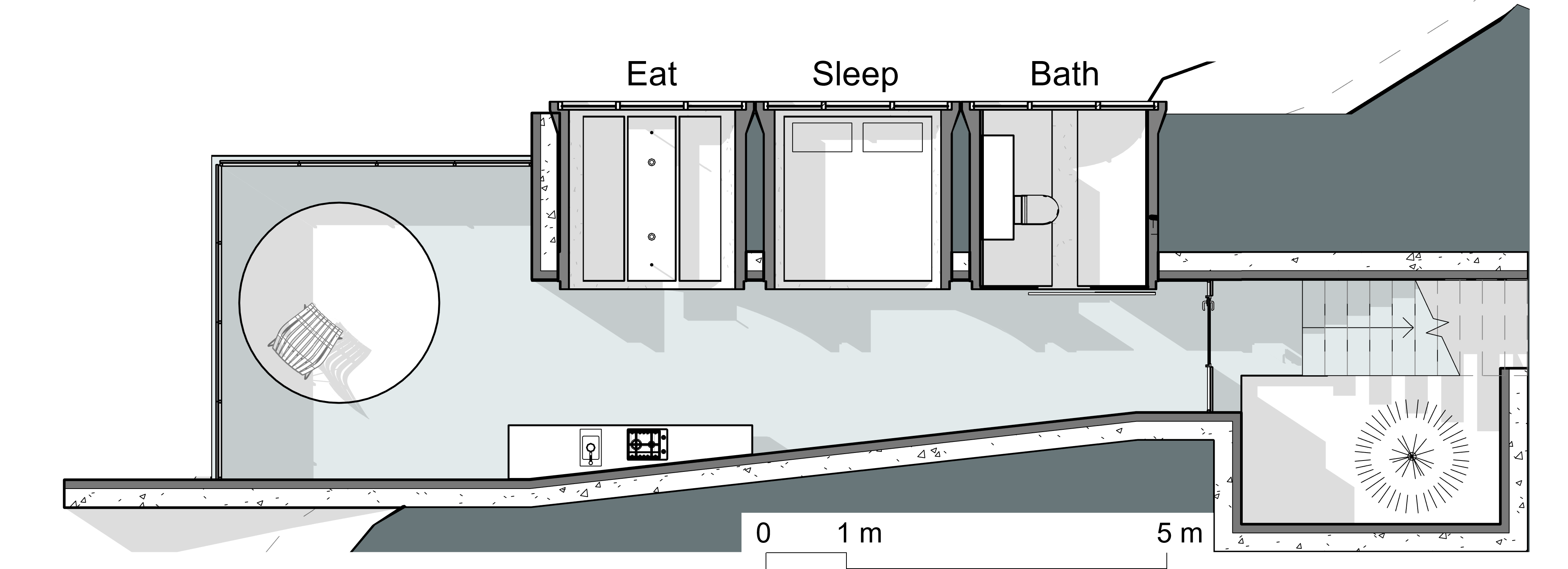 A plan showing the spaces within the shelter
