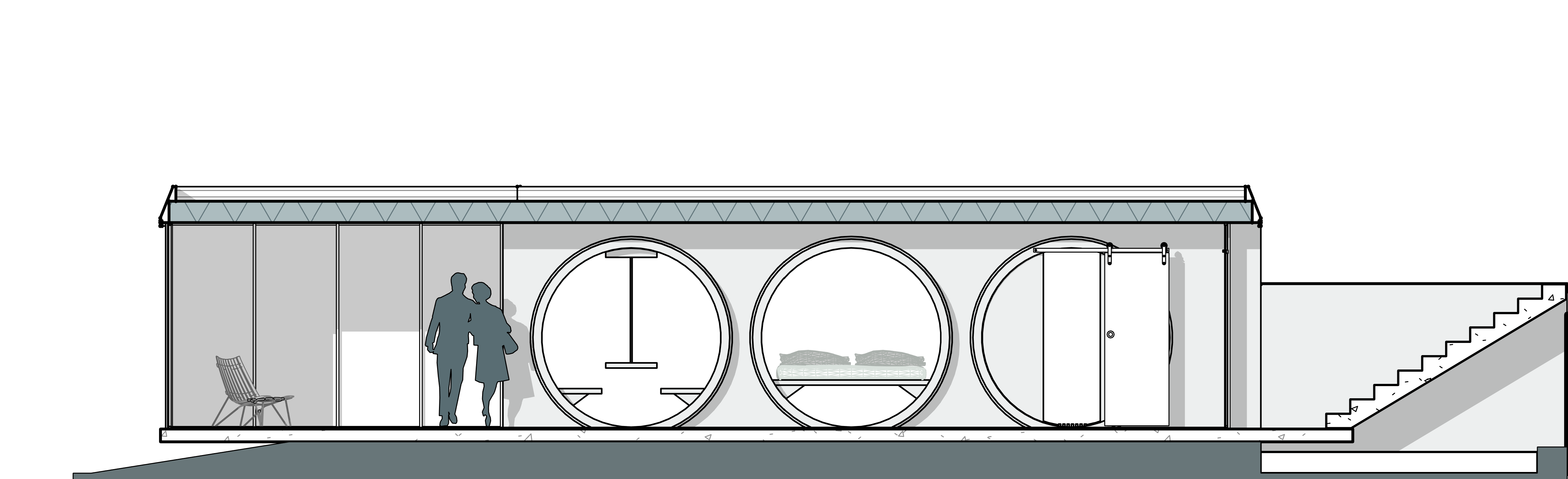 A section showing concrete pipes as rooms