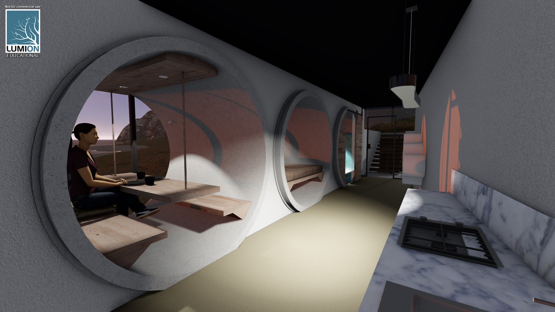 Interior render showing the 3 concrete pipes in a row